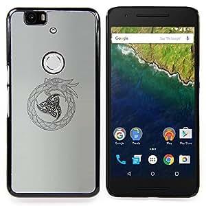 """For Huawei Google Nexus 6P Case , Tribal Vikingo Oroboros Serpiente Dragón"""" - Diseño Patrón Teléfono Caso Cubierta Case Bumper Duro Protección Case Cover Funda"""