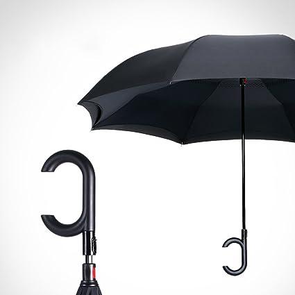 LJHA yusan Creatividad Automotriz Paraguas Inverso / Doble capa Manos libres Automático Paraguas Largo / Gran