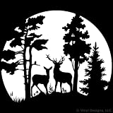 Buck and Doe Deer in the Moonlight, Hunting Vinyl Wall Decal Sticker Art, Removable Home Decor, Mural, White Review