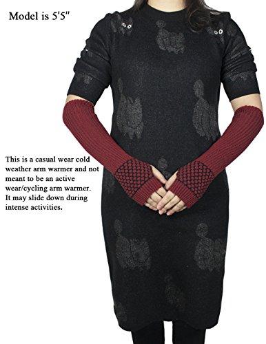 Dahlia Women's Honeycomb Pattern Acrylic Fingerless Arm Warmer Gloves - Red by Dahlia (Image #3)