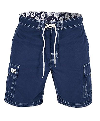 US Apparel Men's Solid Color Cargo Style Microfiber Board Shorts, Navy, - Flat Mens Shorts Microfiber Front