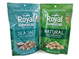 Royal Hawaiian Orchards Macadamia Nut Healthy Snack Variety Bundle: One 5 oz. Bag of Sea Salt, One 5 oz. Bag of Natural