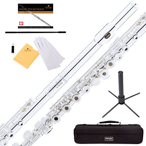 mendini-intermediate-open-closed-hole-silver-plated-c-flute-includes-1-year-warranty-stand-case-clea