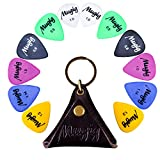 Mugig Guitar Picks 12 Pieces Delrin Plectrums Colorful Picks in a Leather Case for Electric , Acoustic, Bass Guitar , Ukulele