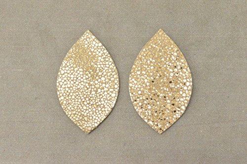 12pk- Med Die Cut Fashionista Metallic Gold Stingray DIY Leaf Leather Earrings