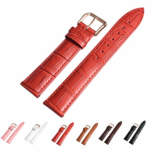 Leather Watch Band with Rose Gold Watch Buckle - Choices of Color (Changeable Buckle)