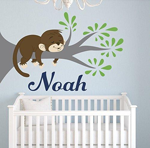 Custom Name Tree Monkey Wall Decal For Boys - Nursery Decor - Kids Bedroom Art Vinyl (30