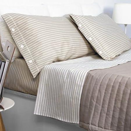 Bettwäsche Produkt Italien Doppelbett Gestreift Beige Creme Natur