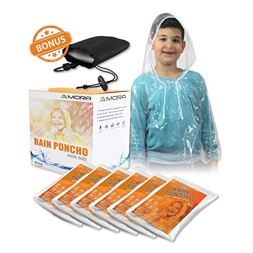 (Mora Premium Disposable Ponchos: 6 Extra-Thick Rain Coats with Hoods, Sleeves and Elastic Ends for Adults, Women, and Children Plus Waterproof Hang Bag (Clear Kids))