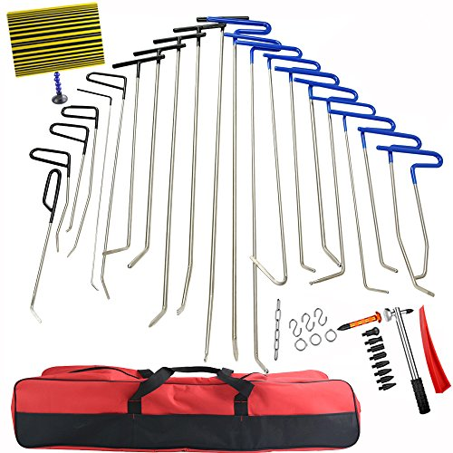 Line Board (42Pcs PDR Rods Dent Remover Tools Paintless Dent Repair Tools PDR Tools Kit Hail Damage Removal Car Ding Dent Repair Rod Hook PDR Line Board Paintless Hail Removal Dent Puller Tool Dent Remover Kit)