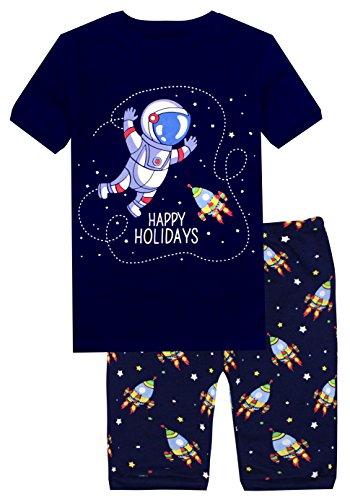 Slenily Little Boys Shorts Set Pajamas 100% Cotton Clothes Toddler Kids Pajamas Size 8