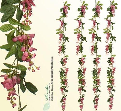 6-Artificial-Wisteria-Garlands-pack-of-6-Silk-Flowers-Mauve