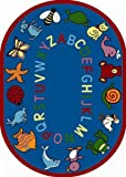 Joy Carpets Kid Essentials Early Childhood Oval ABC Animals Rug, Blue, 7'8'' x 10'9''