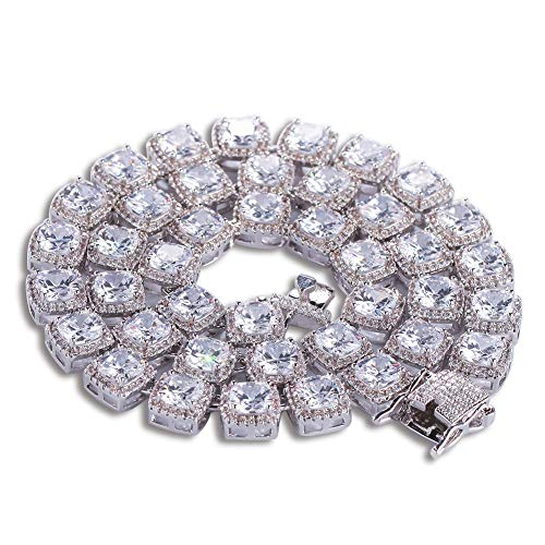 (WANZIJING Men Classic Necklace, 1 Row Rhinestone Tennis Chain Iced Out Hiphop Necklace 18,20,22,24 inches,Silver,18'')