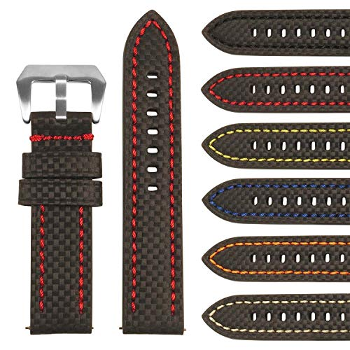 StrapsCo Heavy Duty Men's Carbon Fiber Leather Watch Band - Quick Release Strap - 20mm 22mm 24mm 26mm