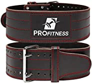 ProFitness Genuine Leather Workout Belt (4 Inches Wide) - Proper Weightlifting Form - Lower Back and Lumbar Su
