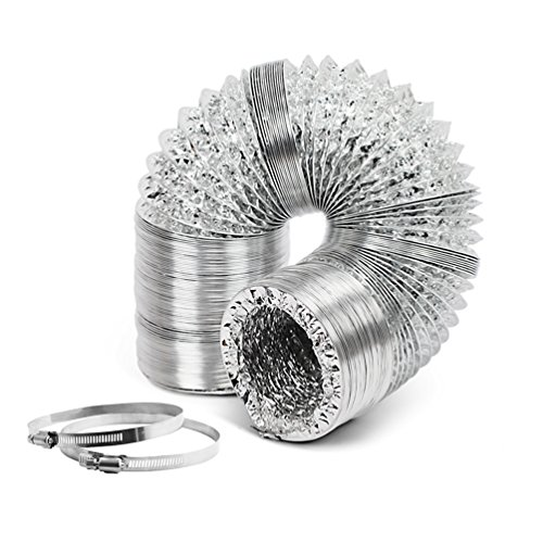 Growneer 4 Inch 25 Feet Air Aluminum Duct with 2 Stainless Steel Clamps, Non-Insulated Strong Flexible Air Ducting for - Ducting Air