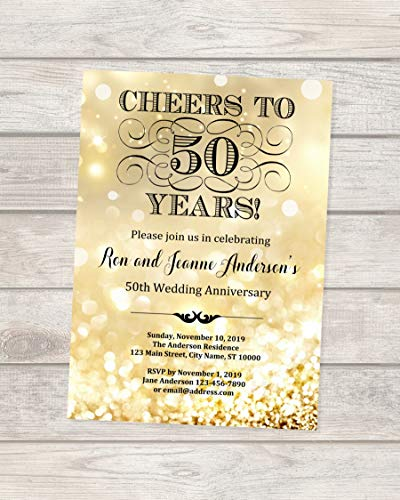 50th Golden Wedding Anniversary Invitation, Gold Sparkle 50th Anniversary Invitation, Gold Bokeh Anniversary Invite, Cheers to 50 Years