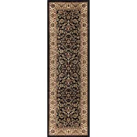Ventura Transitional Oriental Black Runner Rug, 2 x 7