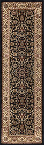 Black Transitional Rug (Ventura Transitional Oriental Black Runner Rug, 2' x 7')