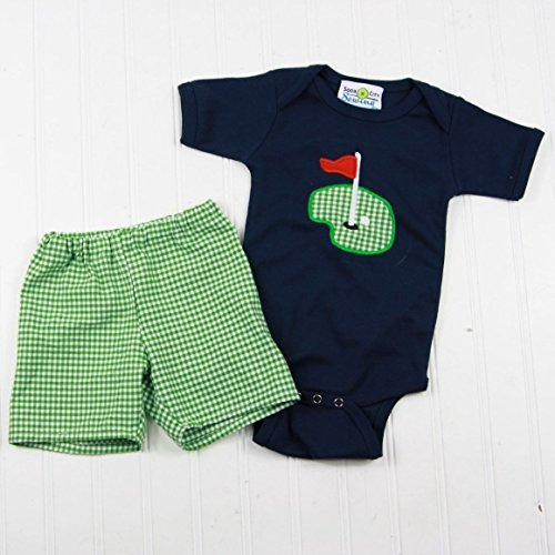 Baby Boy Golf Outfit - Personalized Navy Golf Applique Bodysuit and Matching Green Gingham Shorts (Interlock Embroidered)