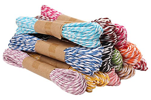 Taloyer 5pcs 10m DIY Handmade Wedding Birthday Party Material Home Decor Colorful Paper Twine String 2mm