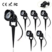 ALOVECO Landscape Lighting Low Voltage, 12V / 24V LED Landscape lights IP66 Waterproof Outdoor Landscape Spotlights Aluminum Metal Made with Spike for Driveway, Patio,Garden,Pathway (Warm White,6Pack)