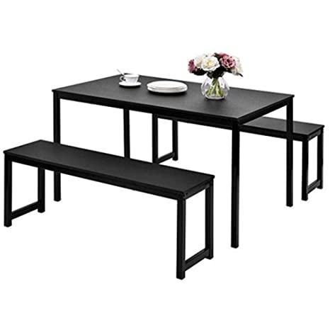 Amazon.com: 3-piece Dining Table, Two Benches, Kitchen ...
