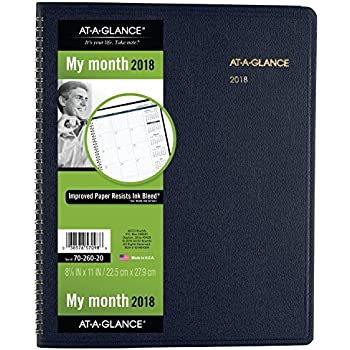 "AT-A-GLANCE Monthly Planner, January 2018 - March 2019, 8-7/8"" x 11"", Navy (7026020)"