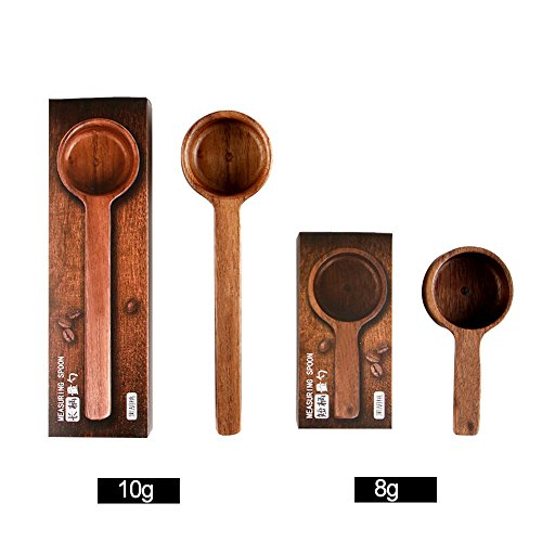 Coffee Scoop 8g 10g Table Spoon or Tea Coffee Spoon Scoop Wood Measuring Spoon Great for Measuring Coffee, Protein Powder, Spices and More, Set of 2 by WENXIU