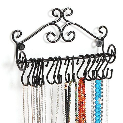 MyGift Wall Mounted Black Metal Scrollwork Design Jewelry Storage Organizer Rack w/20 Hanging S-Hooks