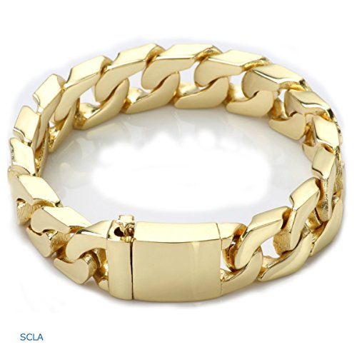 (Gold Filled 24kt Diamond Cut Cuban Link Chain Bracelets 14MM with A USA Made! (8))