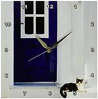 3dRose dpp_81877_1 Greece, Aegean Islands, Samos, Door, Cat EU12 WBI0839 Walter Bibikow Wall Clock, 10 by 10-Inch