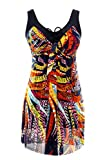#9: NoNoCat Flower Printing Modest 1 Piece Swimwear Cover Up swimdress Plus Size for Women