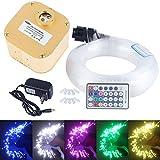 CHINLY 16W RGBW Twinkle 28key RF Remote LED Fiber Optic Star Ceiling Lights Kit 550pcs 0.75mm 13.1ft Optical Fiber+Crystal