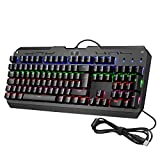 VicTsing 104-Key Cool Backlit Mechanical Gaming Keyboard with Blue Switches, All-Key Anti-Ghosting, 9 Lighting Patterns, Attached Key Cap Puller, Ideal for Gaming and Typing