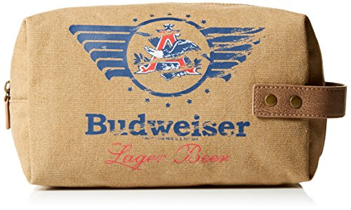 Budweiser by Buxton Men's Eagle Wings Single Zip Travel Kit Accessory, beige, ()