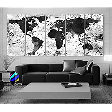 Xlarge 30 x 70  5 Panels 30x14 Ea Art Canvas Print World Map Original Watercolor Texture Old Black & White Wall Home Office Decor (Framed 1.5  Depth)