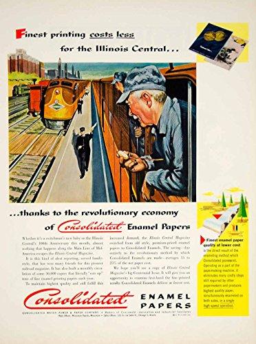 1951 Ad Consolidated Enamel Papers Illinois Central Railroad Train Engineer YFT7 - Original Print Ad (Railroad Enamel)