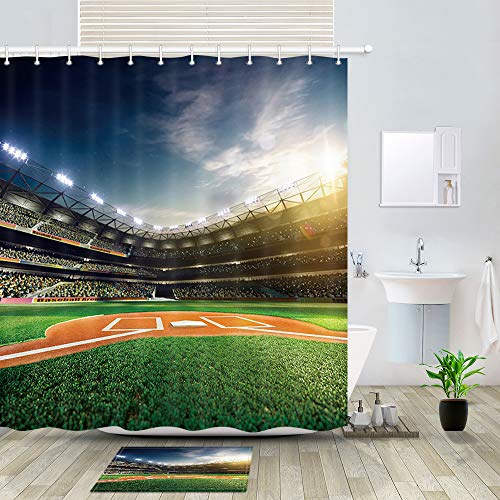 (DYNH Sprots Field Shower Curtain Bath Rugs, Professional Baseball Grand Arena in The Sunlight, 69X70in Fabric Bathroom Curtains with 15.7x23.6in Flannel Non-Slip Floor Doormat Rugs)
