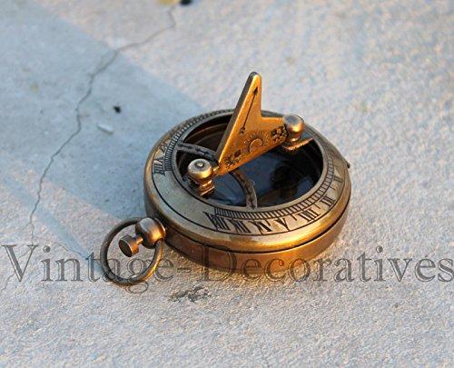 Nautical Brass Push Button Compass Marine Working Pocket Compass Sundial Compass B by saif.nautical.store