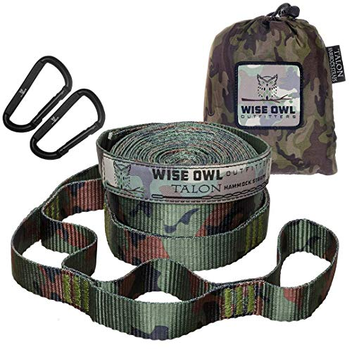 Wise Owl Outfitters Talon Hammock Straps - Combined 20 Ft Long, 38 Loops W/ 2 Carabiners - Easily Adjustable, Tree Friendly Must Have Gear for Camping Hammocks Like Eno Camo