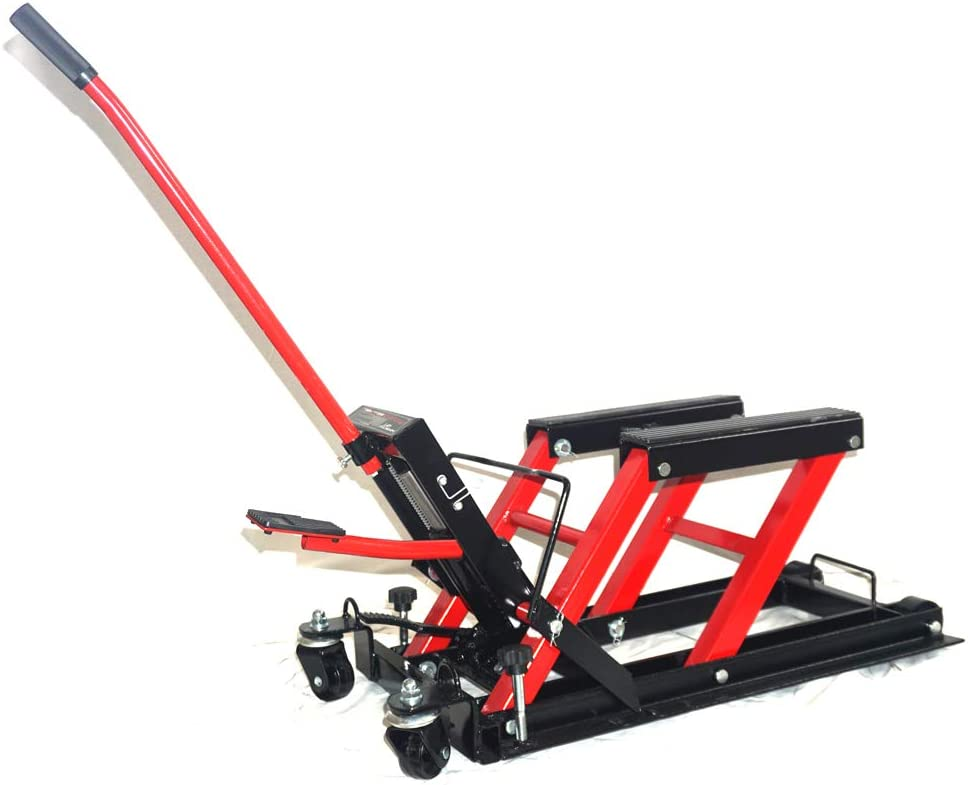 Red KABOCHO 1500LBS Motorcycle ATV Jack Lift Stand Quad Dirt Street Bike Hoist