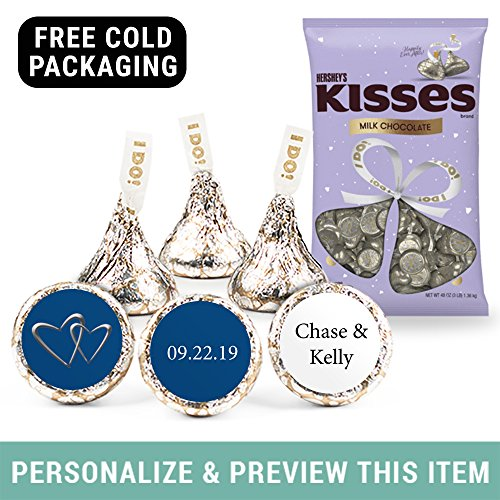 Personalized Wedding Stickers and I Do Hershey's Kisses 3lbs (Approx 300 Kisses) - Midnight Blue - Free Cold Packaging