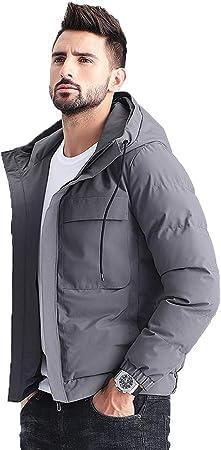 Chaqueta para hombre chaqueta de algodón gruesa de invierno delgada y elegante chaqueta gruesa engrosamiento ropa de algodón para hombres jóvenes abrigo de algodón gruesa, diseño con capucha con cordó: Amazon.es: Hogar