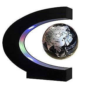 EASY EAGLE C Forma de Levitación Magnética Flotante Globo Eléctrico de Rotación del Mapa del Mundo con Luces LED para La Educación Demostración -4 Pulgadas de Color Negro