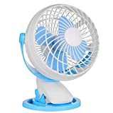 Hzhy USB Clip And Desk Personal Fan, Quiet Operation, Mini Fan, Table Fan,4 Inch 2 Speed Portable Cooling Fan USB Powered By NetBook, Computer MacBook, Power Bank, (Color : Blue and white)