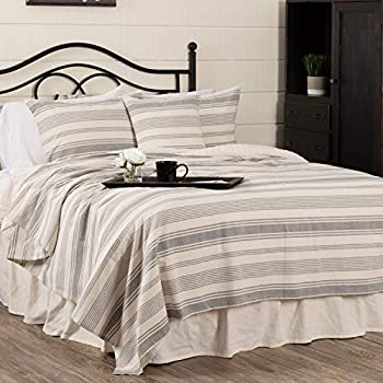 Image of Home and Kitchen Piper Classics Farm Market King Coverlet Bedspread, 97' x 110', Urban Rustic Farmhouse Bedding, Striped Blanket in Natural Cream and Gray
