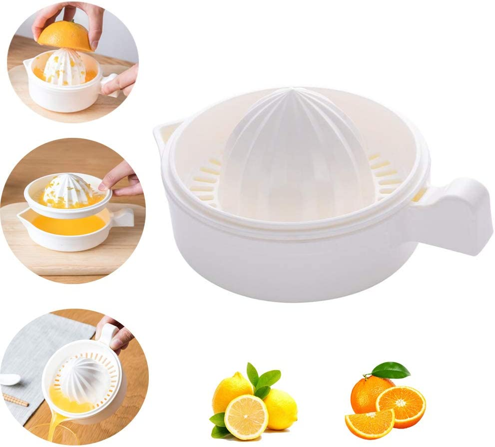EMADOP Lemon Squeezer,Manual Hand Citrus Juicer Squeezer, Citrus Lemon Orange Squeezer Manual Hand Juicer Press Anti-slip Reamer With Strainer and Container,Ergonomic Handle,White Color