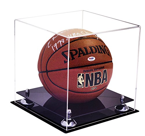 Deluxe Clear Acrylic Full Size Basketball Display Case with Silver Risers (A001-SR)